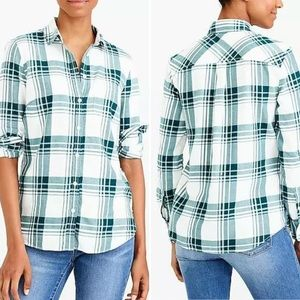 J Crew Flannel Plaid Button Up Shirt Green & White